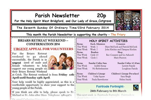 NEWSLETTER - The Seventh Sunday Of Ordinary Time ( Front Page)